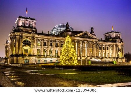 Illuminated Reichstag building in Berlin, Germany on christmas - stock photo