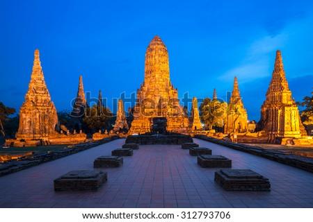 Illuminated Ruined temple of Thailand - stock photo