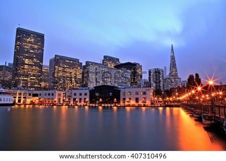 Illuminated San Francisco Downtown at Dusk