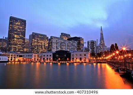 Illuminated San Francisco Downtown at Dusk - stock photo