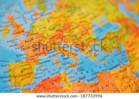 illuminated school education world globe closeup country - stock photo