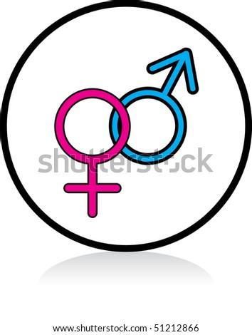 illuminated sign - WHITE version - male female symbol - stock photo