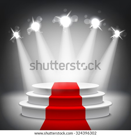 Illuminated stage podium with red carpet for award ceremony illustration - stock photo