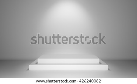 Illuminated stage with scenic light and podium in center, 3D illustration - stock photo