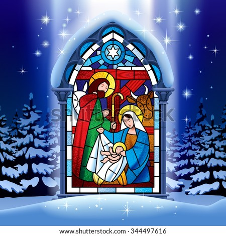Illuminated stained glass window depicting Christmas scene in gothic frame against the night winter spruce forest in snow under starry sky - stock photo
