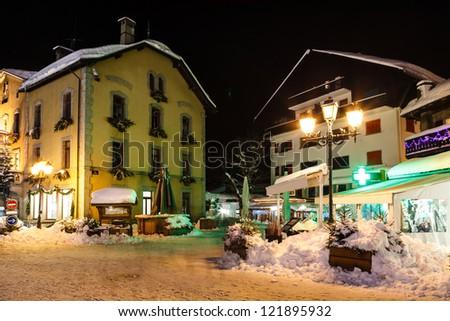 Illuminated Street of Megeve on Christmas Eve, French Alps, France - stock photo