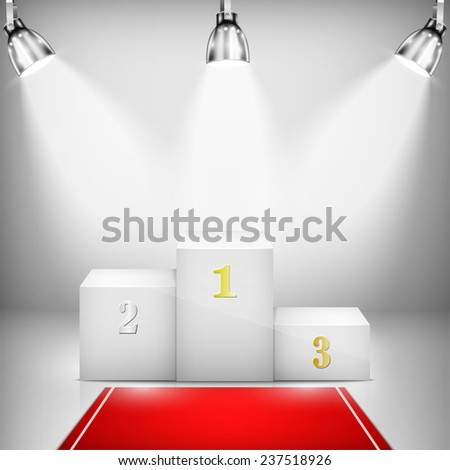 Illuminated Winner Pedestal With Red Carpet. - stock photo