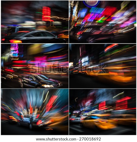 Illumination and night lights of New York City. Intentional motion blur. Set of 6 images - stock photo