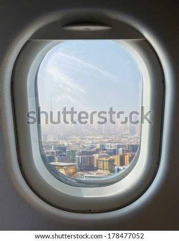 illuminator and landmark, Dubai's skyscrapers and top view on a sunny day - stock photo