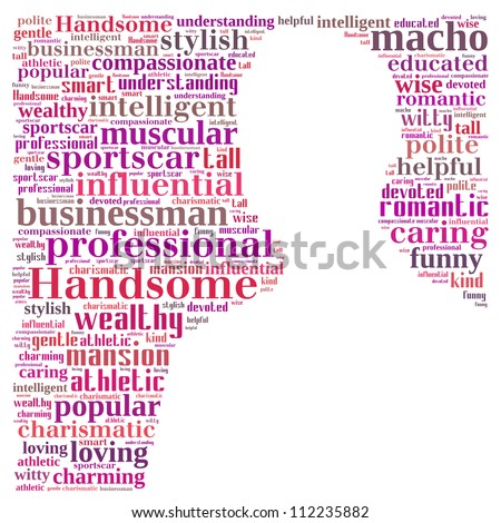 Illusion of the perfect man: text graphics. - stock photo