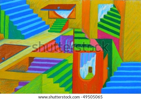 Illusion Staircase Painting