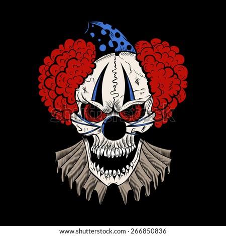 Illustartion of cartoon evil clown with hubcap. - stock photo