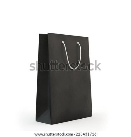 illustrate of a black paper bag , isolated , white background