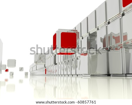 Illustrated abstract construction of the wall from mirrored cubes, interspersed with red cubes