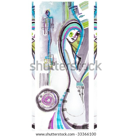 illustrated abstract couple surrounded by abstract shapes   background   handmade   self made - stock photo