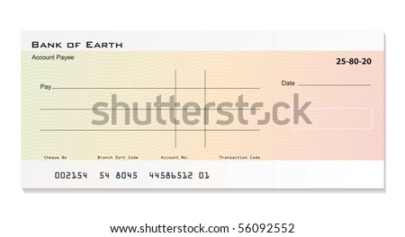 Illustrated bank cheque with room for your own details - stock photo