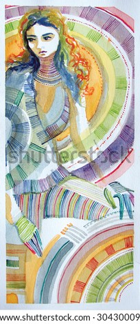 illustrated  beautiful girl surrounded by abstract shapes | hand made | watercolor - stock photo