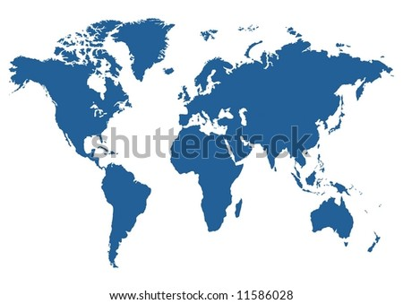 Illustrated blue map of the world on a white background - stock photo