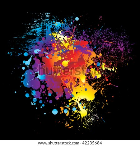 illustrated Brightly colored rainbow ink splat black background