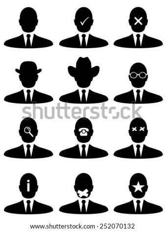 Illustrated businessmen with different features - stock photo