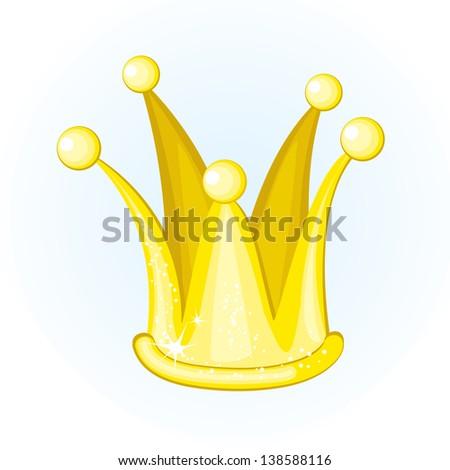 Illustrated cartoon golden crown - stock photo
