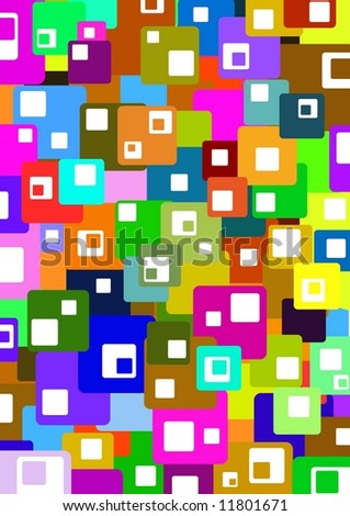 Illustrated colorful background made of squares