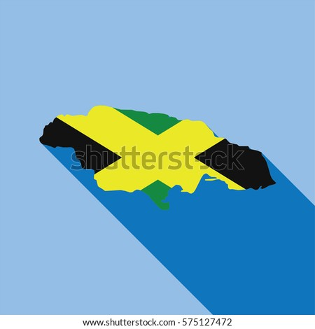 Illustrated Country Shape with the Flag inside of Jamaica
