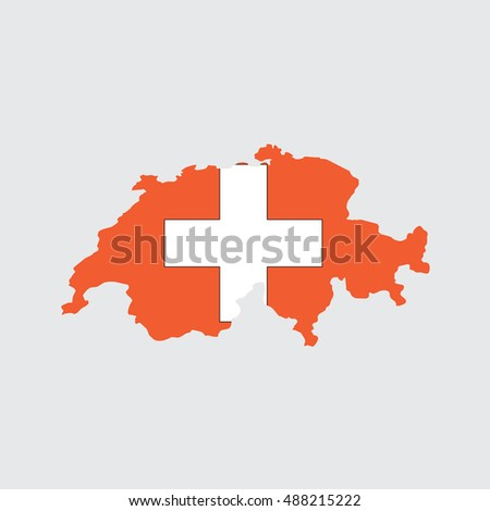 Illustrated Country Shape with the Flag inside of Switzerland