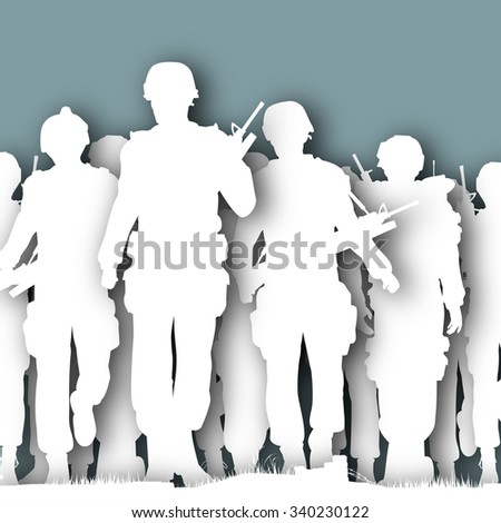 illustrated cutout silhouettes of armed soldiers walking together  - stock photo