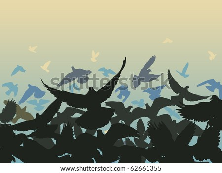 Illustrated design of a flock of pigeons taking off