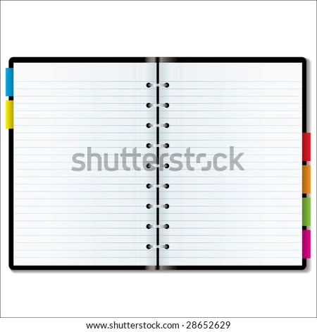 Illustrated diary or organizer with blank pages with room to add your own text - stock photo