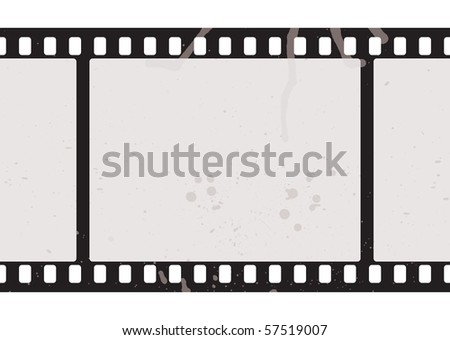 Illustrated film strip with grunge concept and dirty splats - stock photo