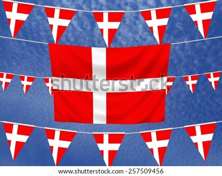 Illustrated flag of Denmark with bunting and a sky background - stock photo