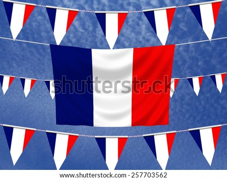 Illustrated flag of France with bunting and a sky background - stock photo