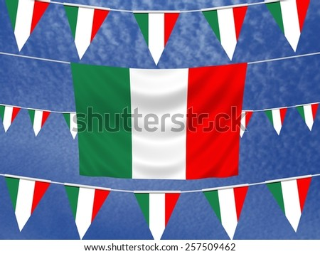Illustrated flag of Italy with bunting and a sky background - stock photo