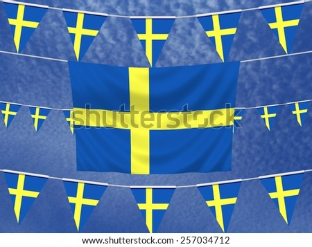 Illustrated flag of Sweden with bunting and a sky background - stock photo