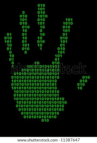 Illustrated hand print made of binary numbers