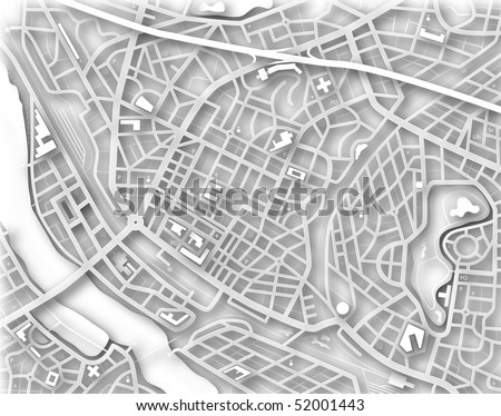 Illustrated map of a generic city with no names - stock photo
