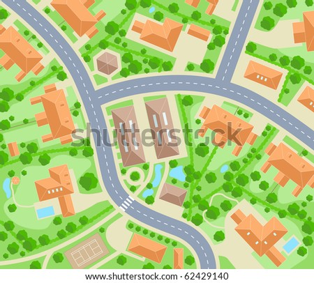 Illustrated map of a generic residential area - stock photo