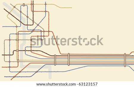 Illustrated map of a generic subway system with copy space - stock photo