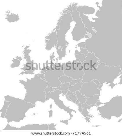 Illustrated map of Europe in grey or grey with borders of countries; white background. - stock photo