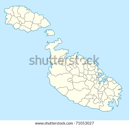 Illustrated map of the country of Malta in Europe. - stock photo