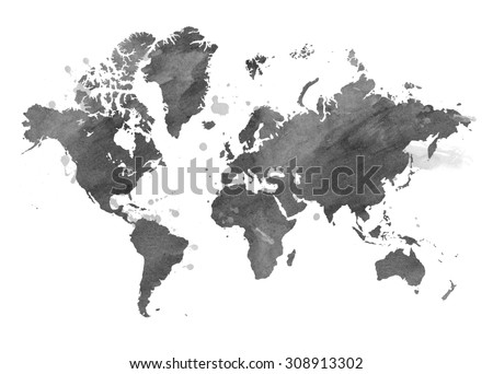 Illustrated map of the world with a isolated background. watercolor - stock photo