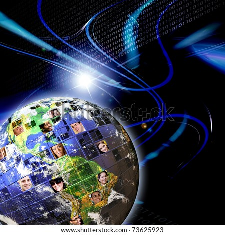 Illustrated montage of the earth with a global network of people from all walks of life on different continents over a background with binary code zeros and ones. Earth photo courtesy of NASA. - stock photo