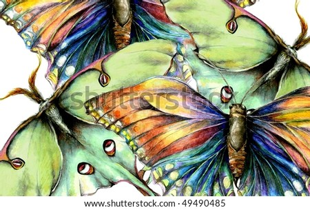 Illustrated Moth and Butterfly Background - stock photo