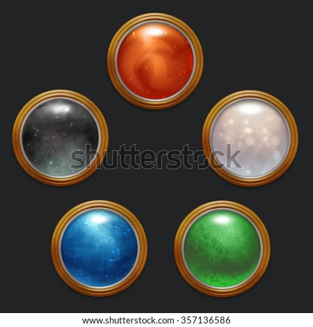 illustrated ornamental buttons and frames - stock photo