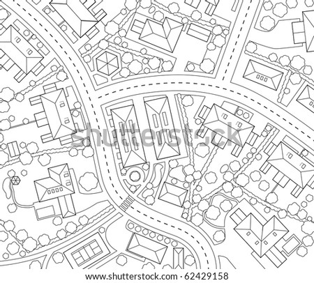 Illustrated outline map of a generic residential area - stock photo