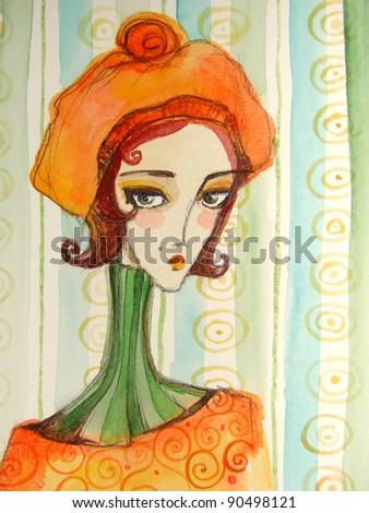 illustrated portrait of beautiful girl | watercolor | handmade - stock photo