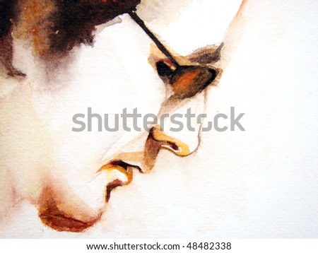 illustrated portrait of guy wit glasses | hand made | watercolor | self made - stock photo