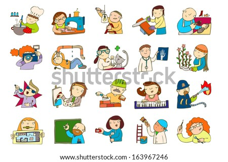 illustrated profession set - stock photo